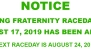 NOTICE - ABANDONED RACEDAY – THE BTC RACING FRATERNITY RACEDAY